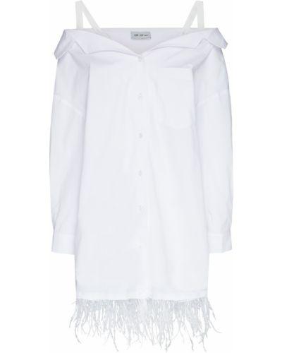 Хлопковое белое платье мини с открытыми плечами ли-лу