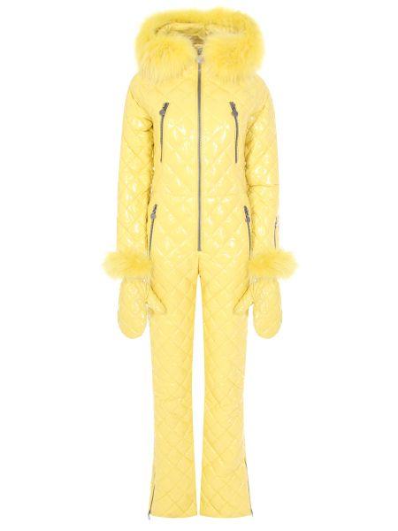 Нейлоновый желтый спортивный костюм с карманами с декоративной отделкой Naumi