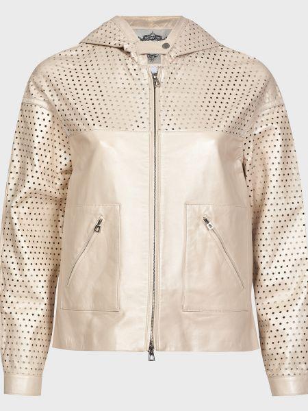 Кожаная куртка на молнии - бежевая Diego M