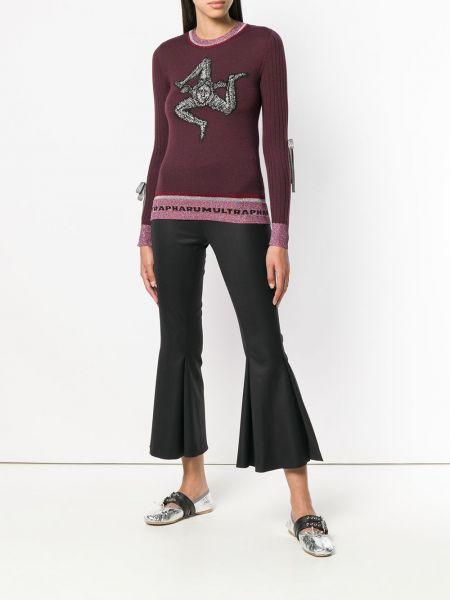 Прямой шерстяной малиновый свитер с длинными рукавами Marco De Vincenzo