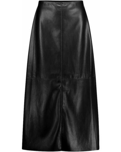 Czarna spódnica midi skórzana Nanushka