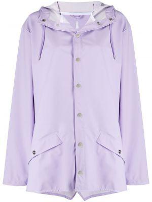 Фиолетовая куртка с капюшоном на кнопках Rains