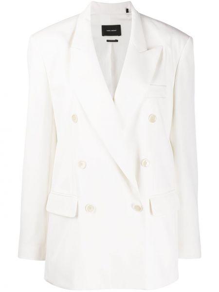 Белый пиджак двубортный с карманами Isabel Marant