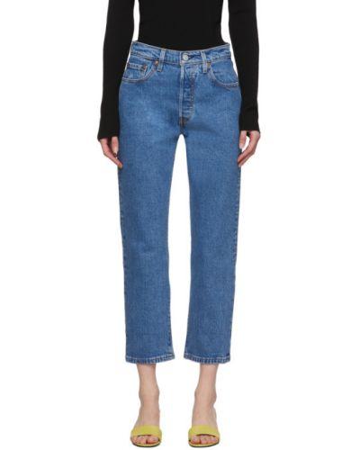 Prosto włókienniczy niebieski jeansy do kostek z paskiem Levi's