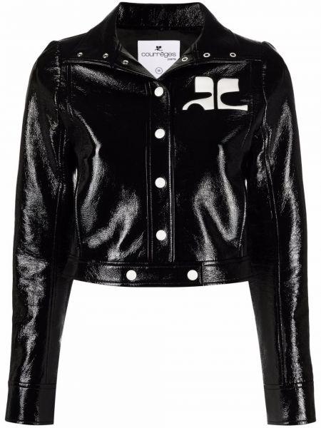 Черная хлопковая кожаная куртка с нашивками Courrèges