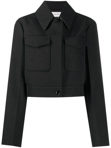 Klasyczny czarny długa kurtka z kieszeniami z długimi rękawami Lemaire