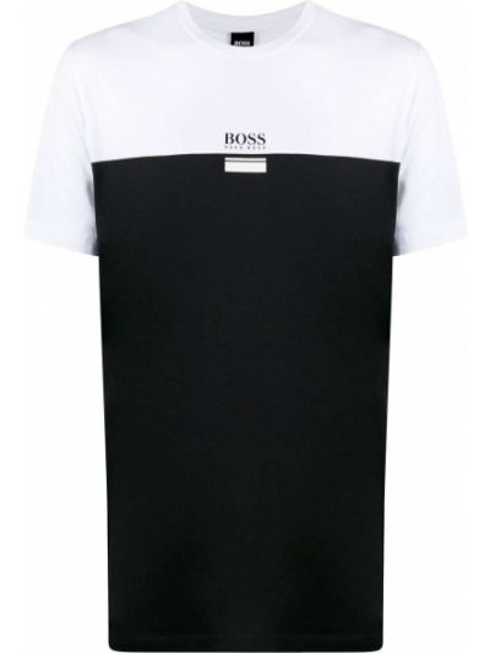 Хлопковая с рукавами белая рубашка Boss Hugo Boss