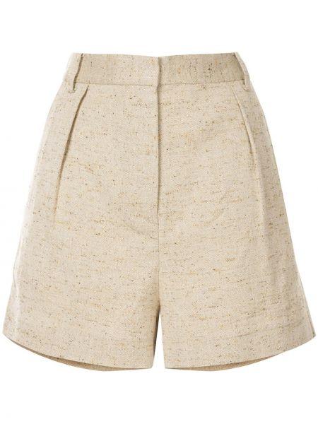 Коричневые льняные шорты с карманами Tibi