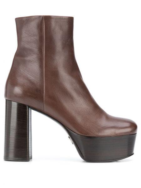 Brązowy buty na platformie na platformie z prawdziwej skóry okrągły Prada