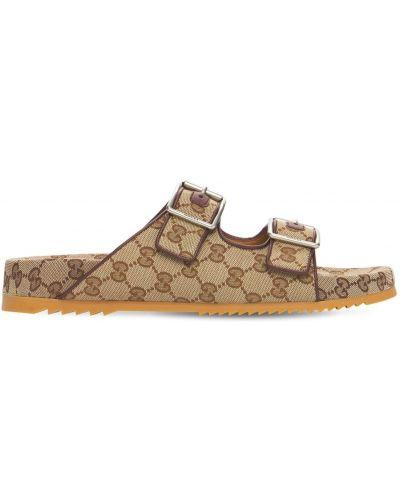 Beżowe sandały z klamrą Gucci
