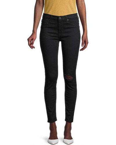 Зауженные черные укороченные джинсы с карманами Hudson