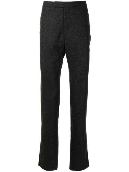 Шерстяные серые классические брюки с карманами Raf Simons