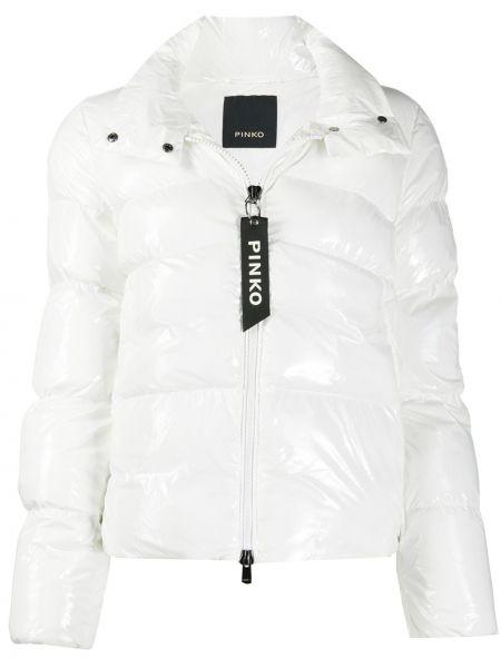Biały pikowana płaszcz z kieszeniami z długimi rękawami Pinko