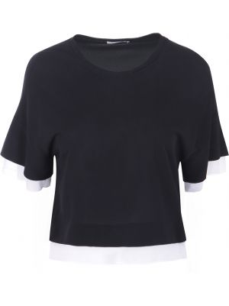 Футбольная черная футболка из вискозы с круглым вырезом Vionnet