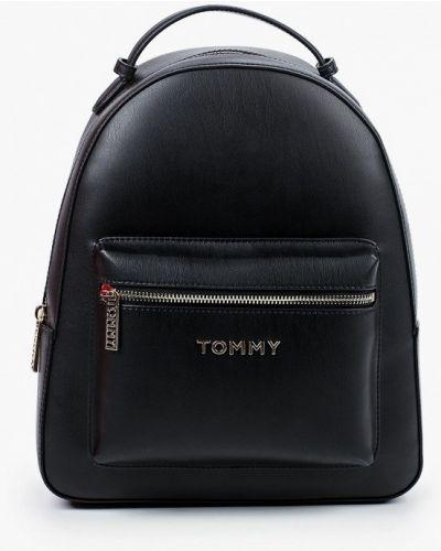 Городской черный кожаный рюкзак Tommy Hilfiger