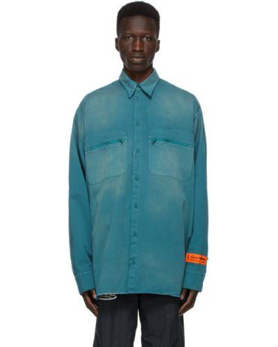 Niebieski bawełna z rękawami koszula z mankietami Heron Preston