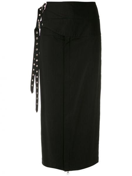 Хлопковая черная прямая юбка миди с пряжкой Reinaldo Lourenço
