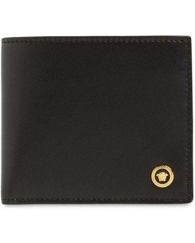 Skórzany czarny portfel z kieszeniami z gniazdem Versace