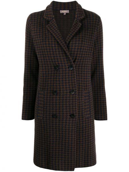 Коричневое пальто на пуговицах с лацканами с карманами N.peal