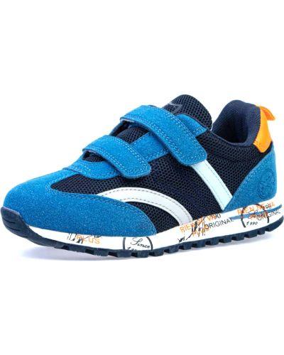 Комбинированные синие кожаные кроссовки котофей