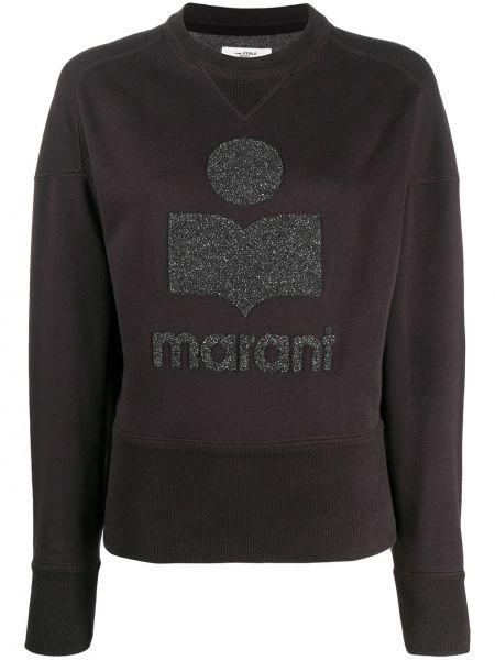 Czarny bluza z haftem z mankietami okrągły dekolt Isabel Marant Etoile