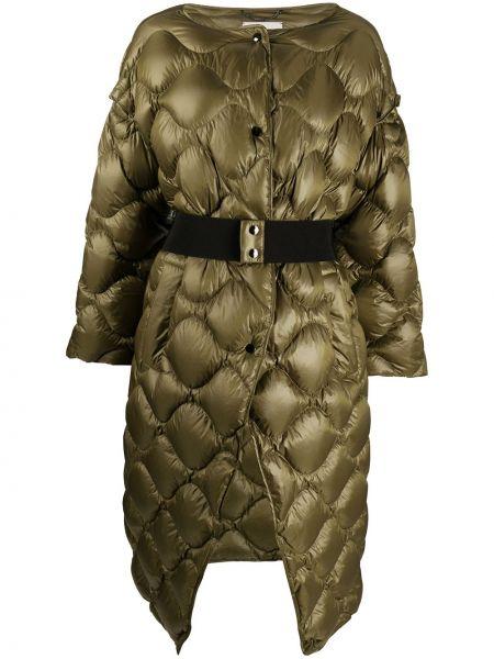 Zielony prosto puchaty długi płaszcz z długimi rękawami Dorothee Schumacher