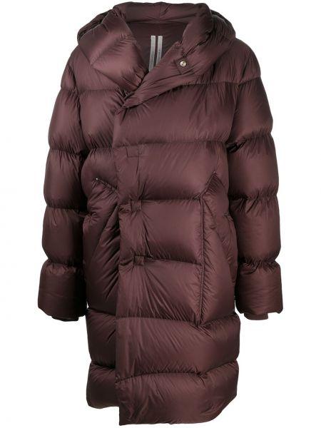 Красное пуховое пальто классическое с капюшоном Rick Owens