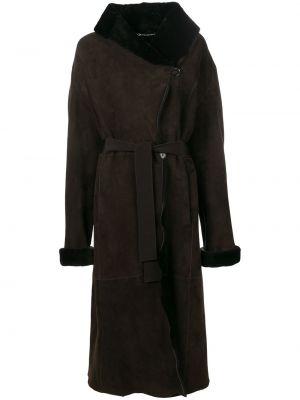 Коричневое кожаное пальто с воротником Liska