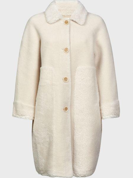 Шерстяное бежевое пальто на пуговицах Silvian Heach