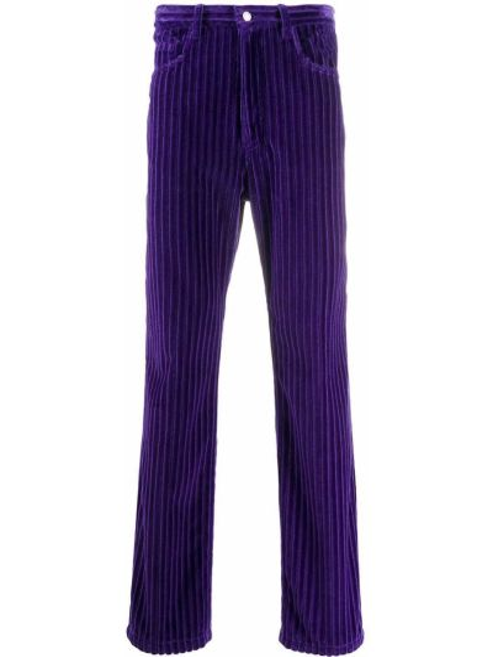 Fioletowe spodnie z wysokim stanem sztruksowe Ami