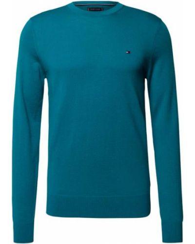 Sweter wełniany - turkusowy Tommy Hilfiger