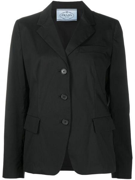 Однобортный черный удлиненный пиджак с карманами Prada Pre-owned