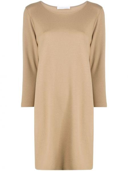 Коричневое тонкое платье с вырезом трапеция Harris Wharf London