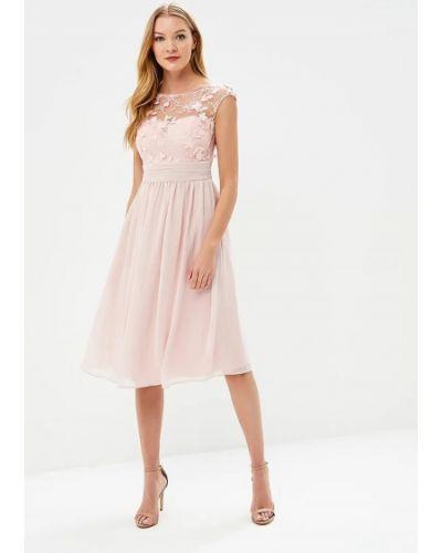 Розовое коктейльное платье Goddiva