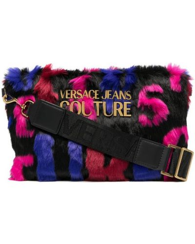 Czarna złota kopertówka z printem Versace Jeans Couture