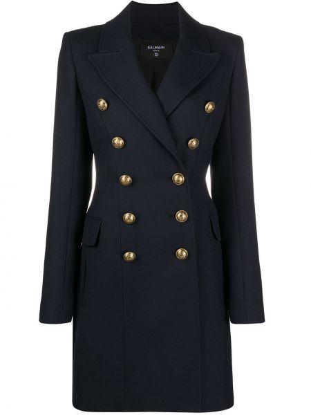 Niebieski wełniany długi płaszcz zapinane na guziki z kieszeniami Balmain