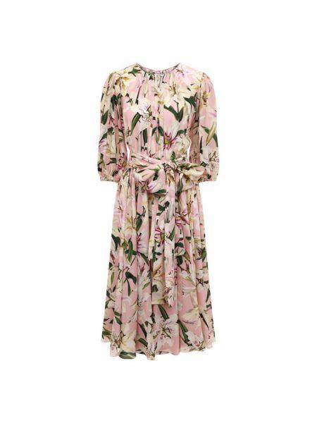 Платье с поясом с цветочным принтом шелковое Dolce & Gabbana