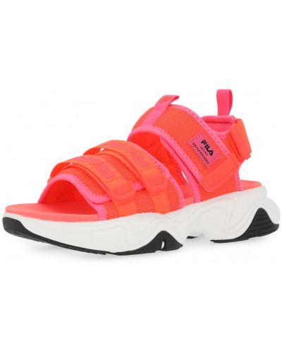 Спортивные красные текстильные сандалии Fila