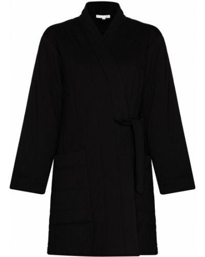 Черный стеганый хлопковый халат Skin