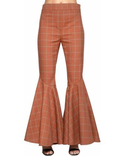 Pomarańczowe spodnie z wysokim stanem bawełniane Ellery