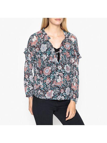 Тонкая блузка с длинным рукавом с оборками с V-образным вырезом свободного кроя Berenice