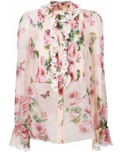 Кружевная блузка прозрачная с рюшами с длинным рукавом Dolce & Gabbana