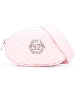 Хлопковая розовая стеганая сумка с декоративной отделкой Philipp Plein