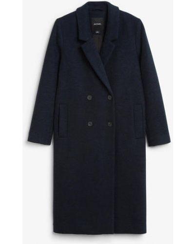 Синее пальто двубортное Monki