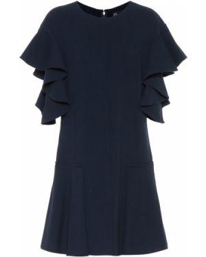 Платье мини в рубчик шерстяное Oscar De La Renta