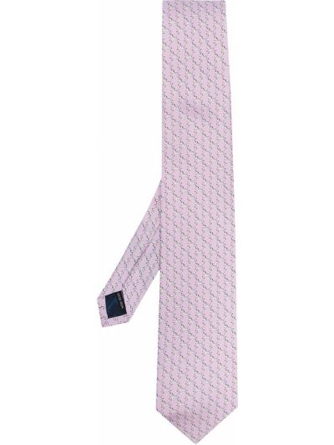Krawat z jedwabiu - różowy Salvatore Ferragamo