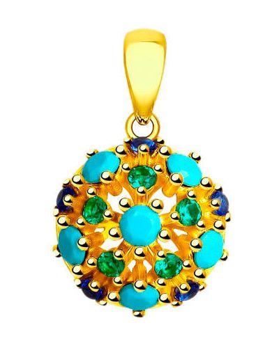 Золотая подвеска зеленый серебряный Sokolov