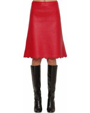 Юбка миди с завышенной талией кожаная Red Valentino