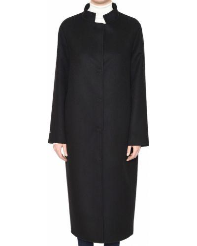 Шерстяное черное пальто с капюшоном Manzoni24