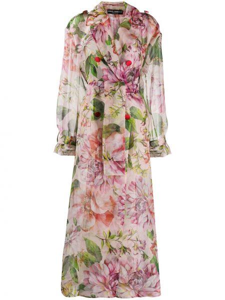 Długi płaszcz z kieszeniami różowy Dolce And Gabbana